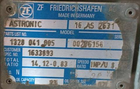 1328041005 1633893 ZF 16AS2631 DAF XF ASTRONIC